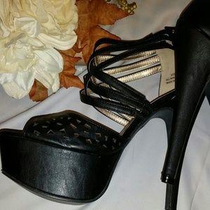 Sexy Black Leather Stappy Platform Stilettos